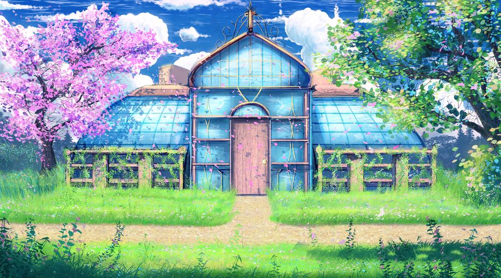 Anime style background - Greenhouse by Hibelton