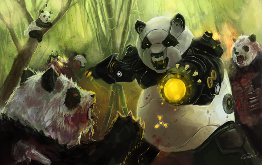 Zombie Pandas VS Panda Robots by Raydiant 45 Awesome Apocalyptic Zombie Artworks