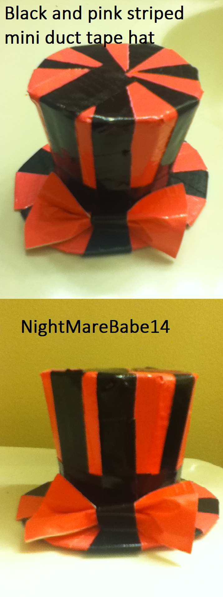Black and pink mini duct tape hat by nightmarebabe14 on for Mini duct tape crafts