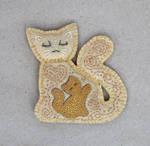 Warm Mother Cat felt brooch