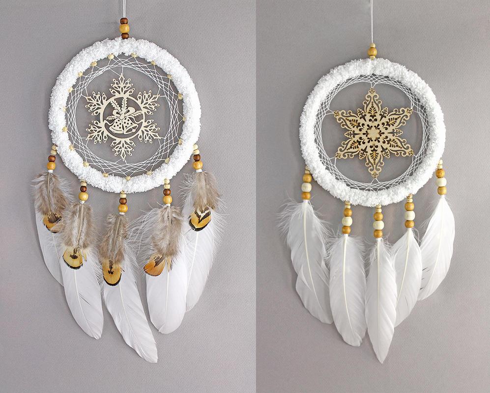 White Snowflake Dreamcatchers by Ailinn-Lein