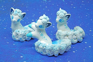 Playful Alolan Vulpix figurines by Ailinn-Lein
