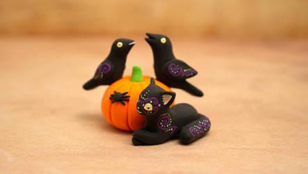 Two Ravens, a Cat, a Spider and a Pumpkin by Ailinn-Lein
