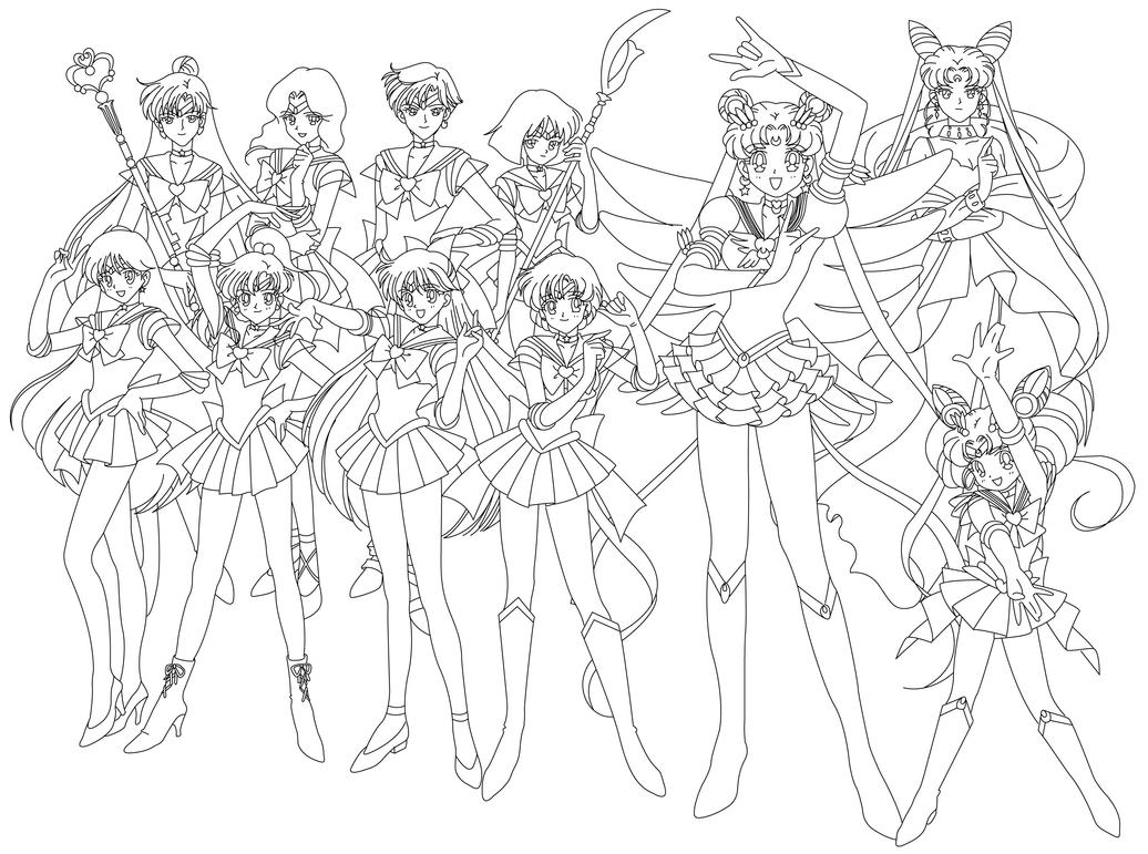 sailor moon group coloring pages sailor group blank by sailor jade iris on deviantart