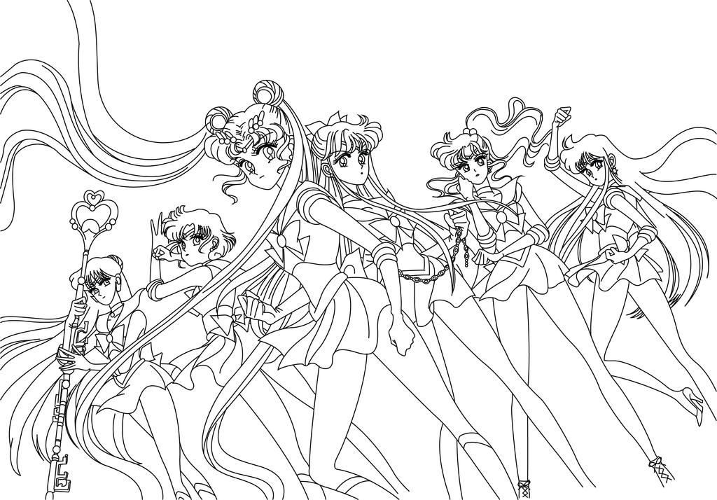sailor moon crystal coloring pages Sailor Moon Group Coloring Pages | Coloring Pages sailor moon crystal coloring pages