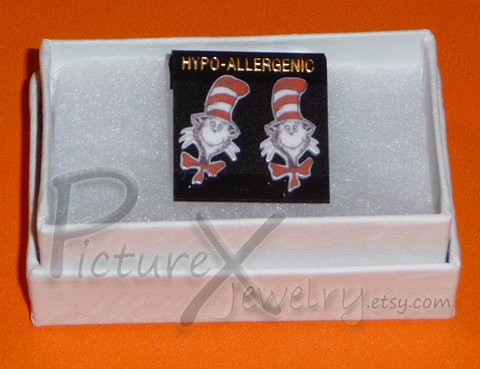 Cat in the hat earrings by picture x jewelry on deviantart for Cat in the hat jewelry