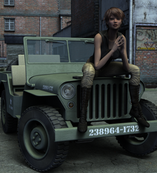 Girl on jeep