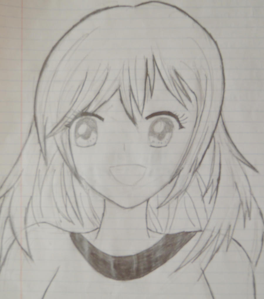 Anime Happy Girl Sketch By Vocaloidluvr On DeviantArt