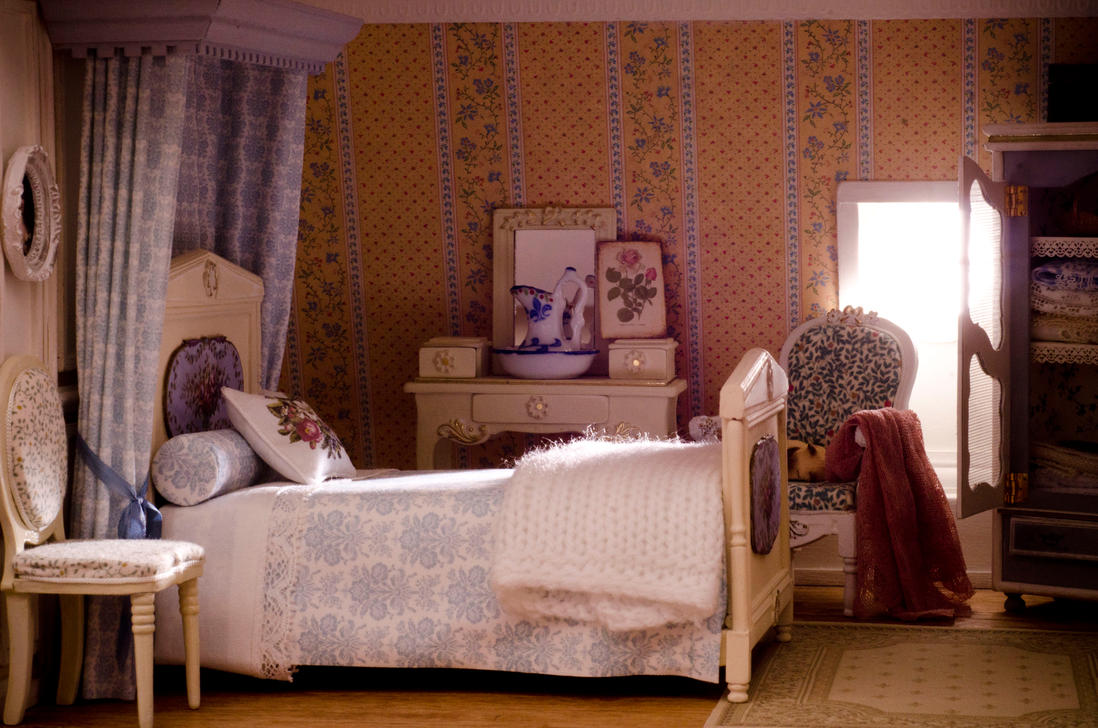 Dollhouse miniature - quiet sunny bedroom by SRKminiature