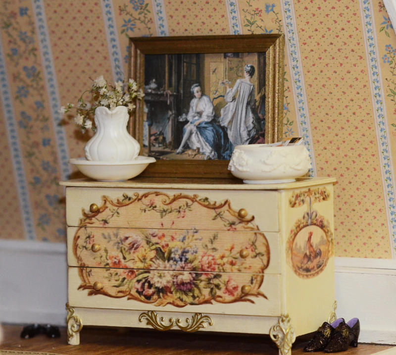 Miniature painted chest of drawers by SRKminiature