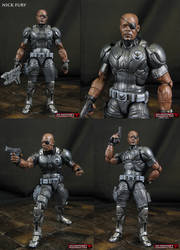 Custom Concept Art Nick Fury action figure by Jin-Saotome