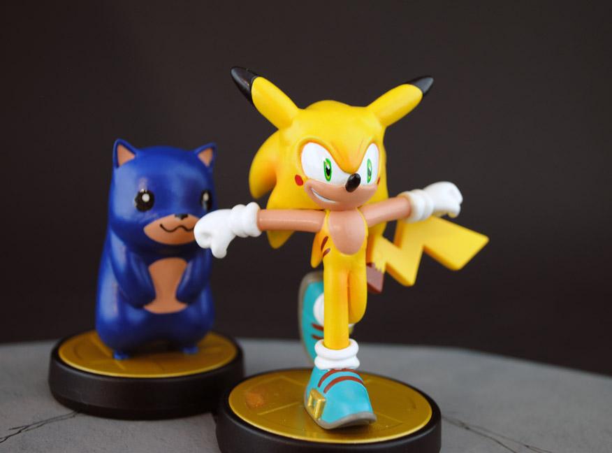 Sonichu and Pikahog Custom Amiibo figures by Jin-Saotome
