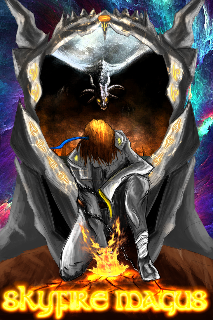 Skyfire Magus [web-novel cover] by MAND4Drawings