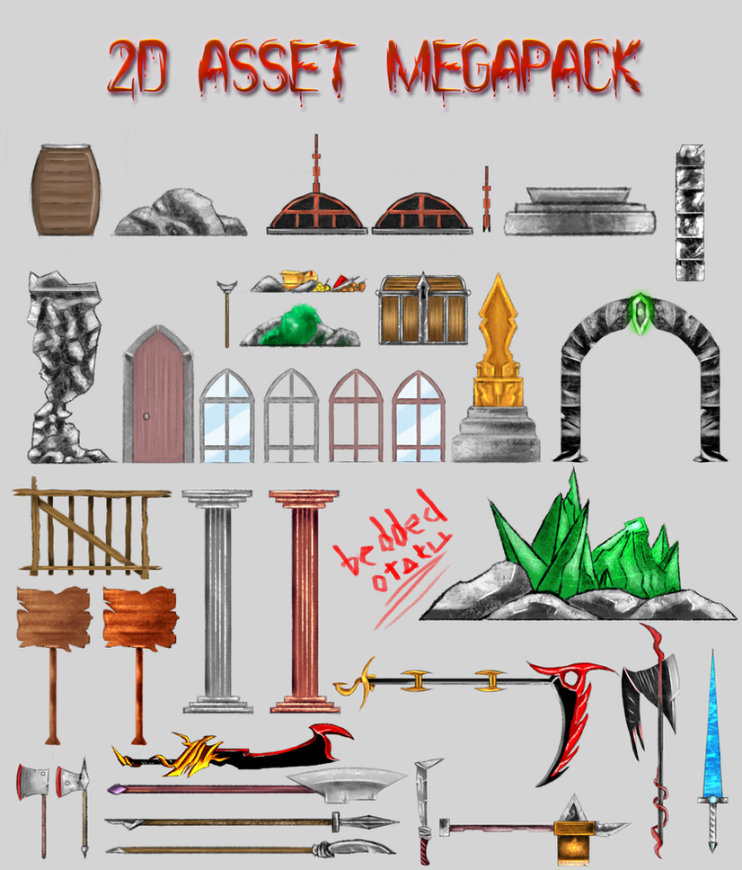 Random 2D Assets Megapack [free] by MAND4Drawings