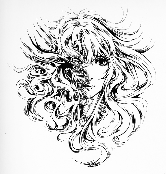 Masquerade - Pure Brush inking by Feohria