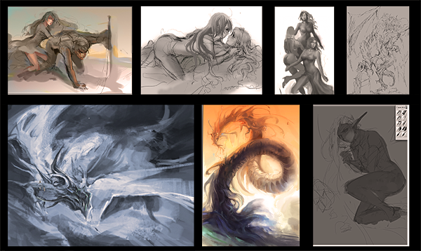 WIP of all current work by Feohria