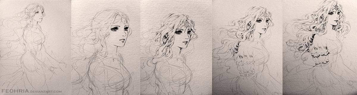 Joo drawing process by Feohria