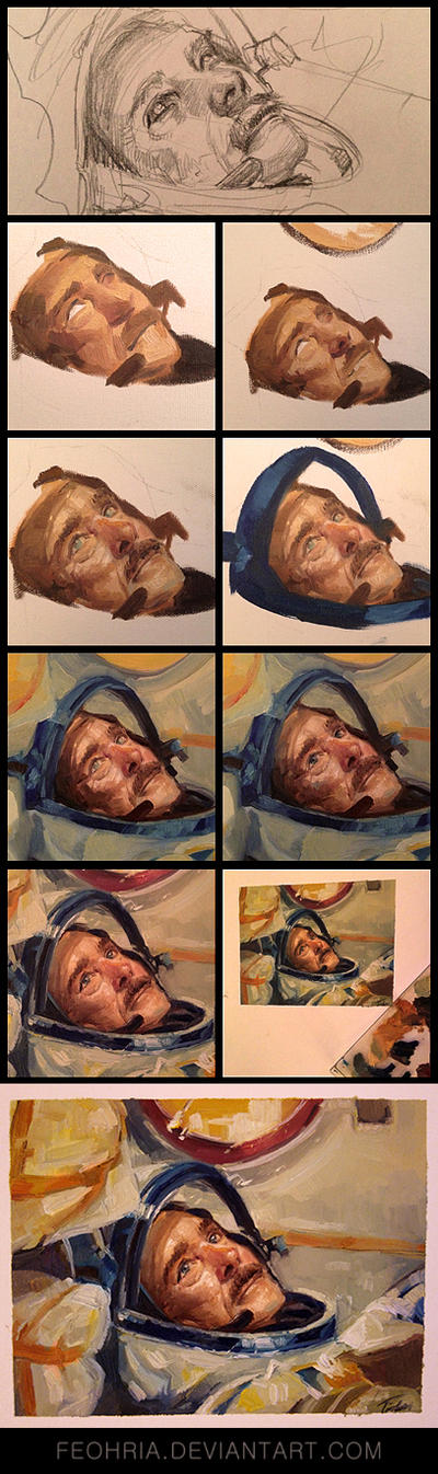 Oil painting process of Chris Hadfield by Feohria
