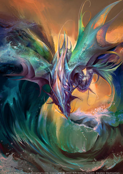 Aquatic element dragon by Lilaccu