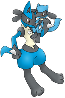 Lucario and Riolu by Xstrawberry-queenX