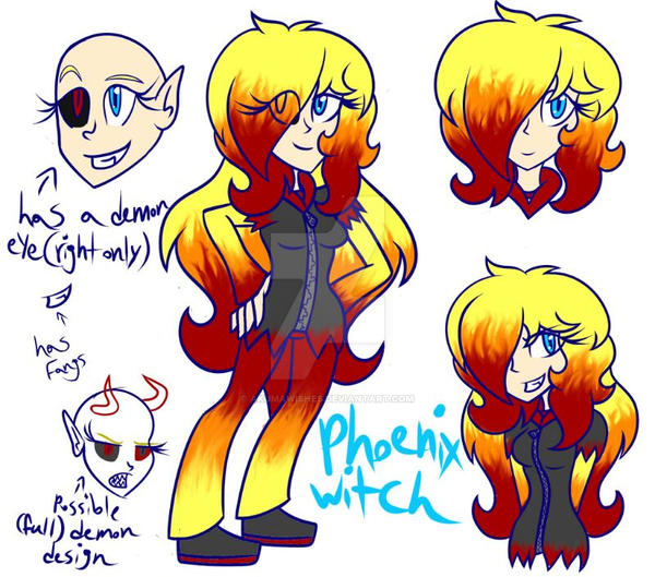 Phoenix Witch Reference Sheet by AkumaWishes