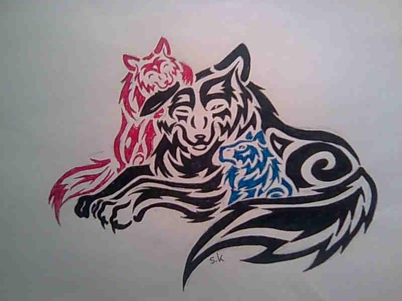 mother wolf tribal by KazeandGeira