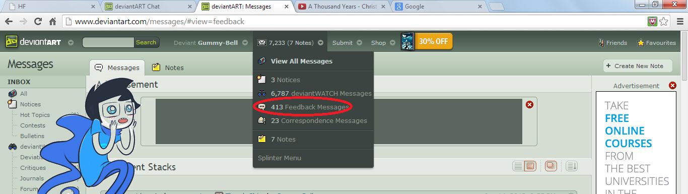 413 messages :B