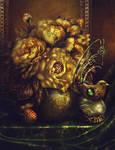 Golden peonies, lychee and clockwork nightingale