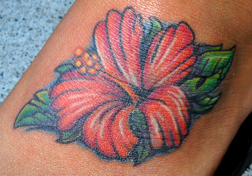 Flower on the Foot - flower tattoo