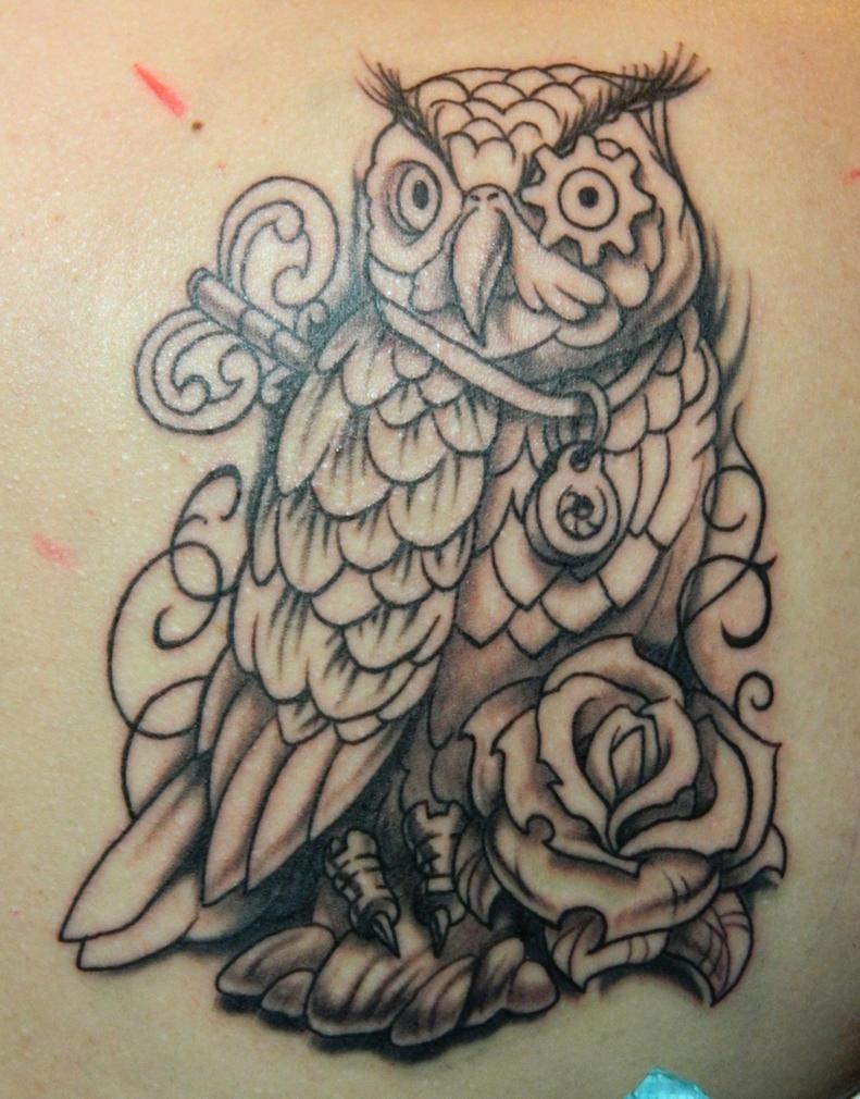 Clockwork Owl WIP by Sirius-Tattoo