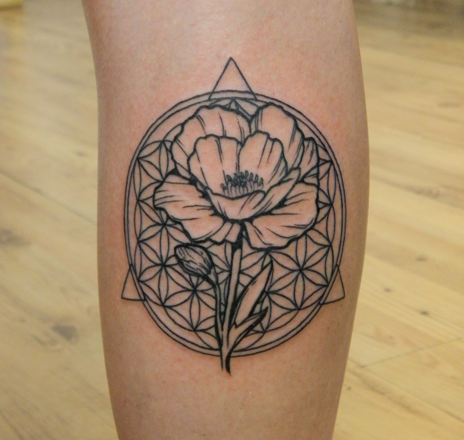 Rachel's Poppy Flower and Flower of Life by Sirius-Tattoo ...