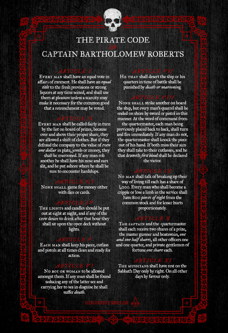 Bartholomew Roberts`s Pirate Code by JohnnyTlad
