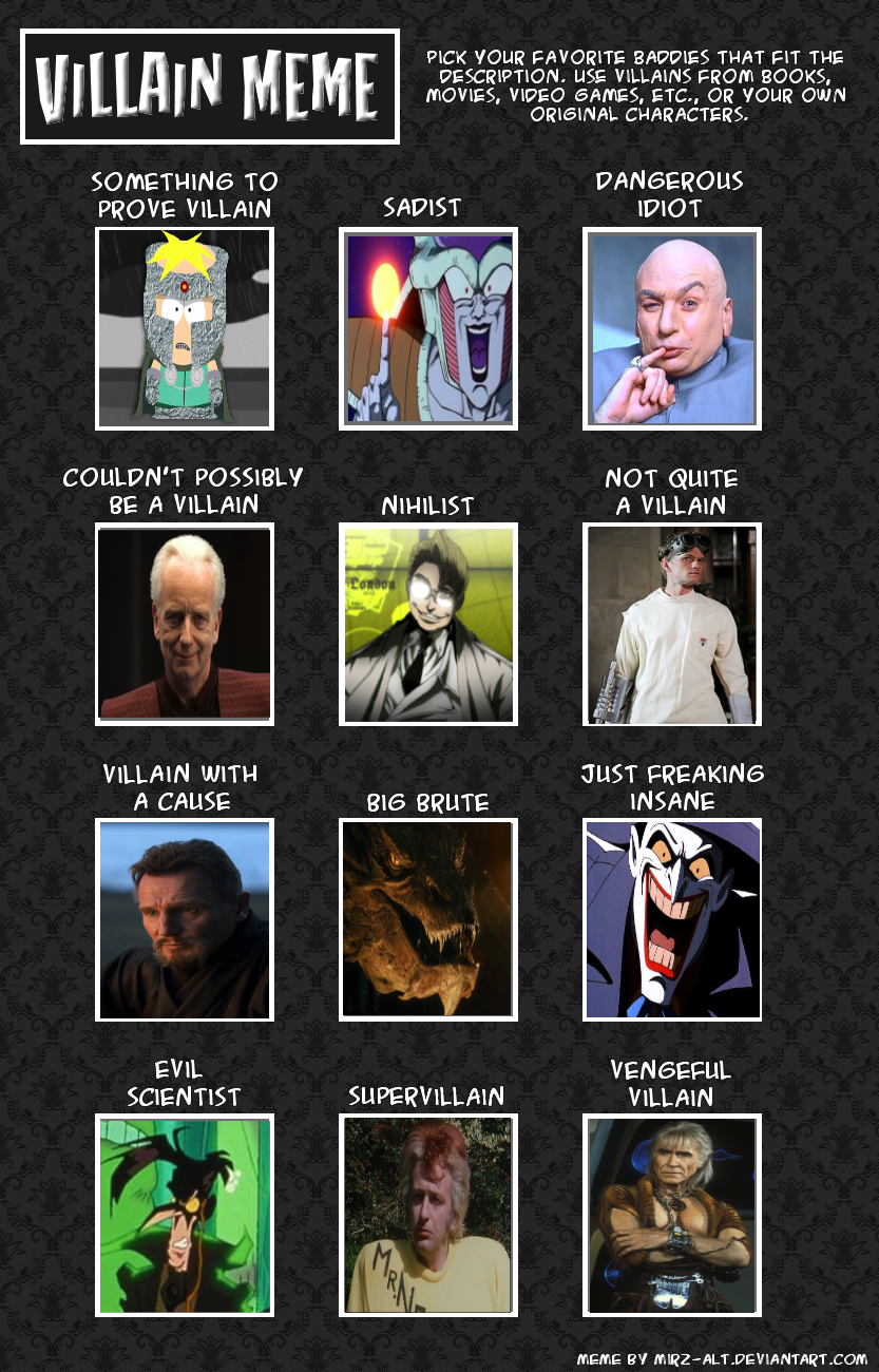 12 Villains Meme