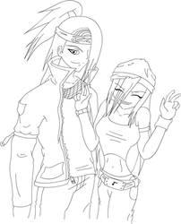 Deidara and Tayuya -Lineart- by DarkAmy