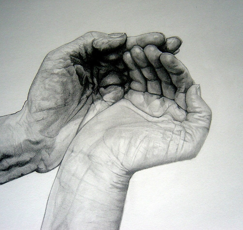 Hands Together Drawing Heavily Shaded…