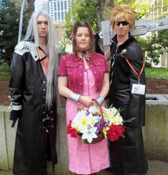 Sephiroth, Aerith (Aeris) and Cloud by 93FangShadow