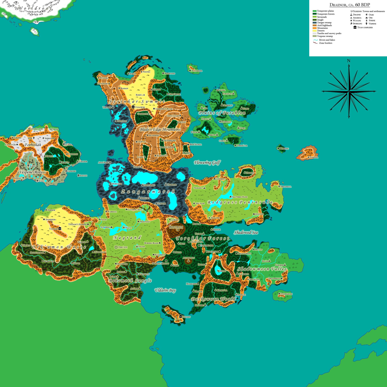 Map of Draenor, 60 years before the Dark Portal by Arakkoa