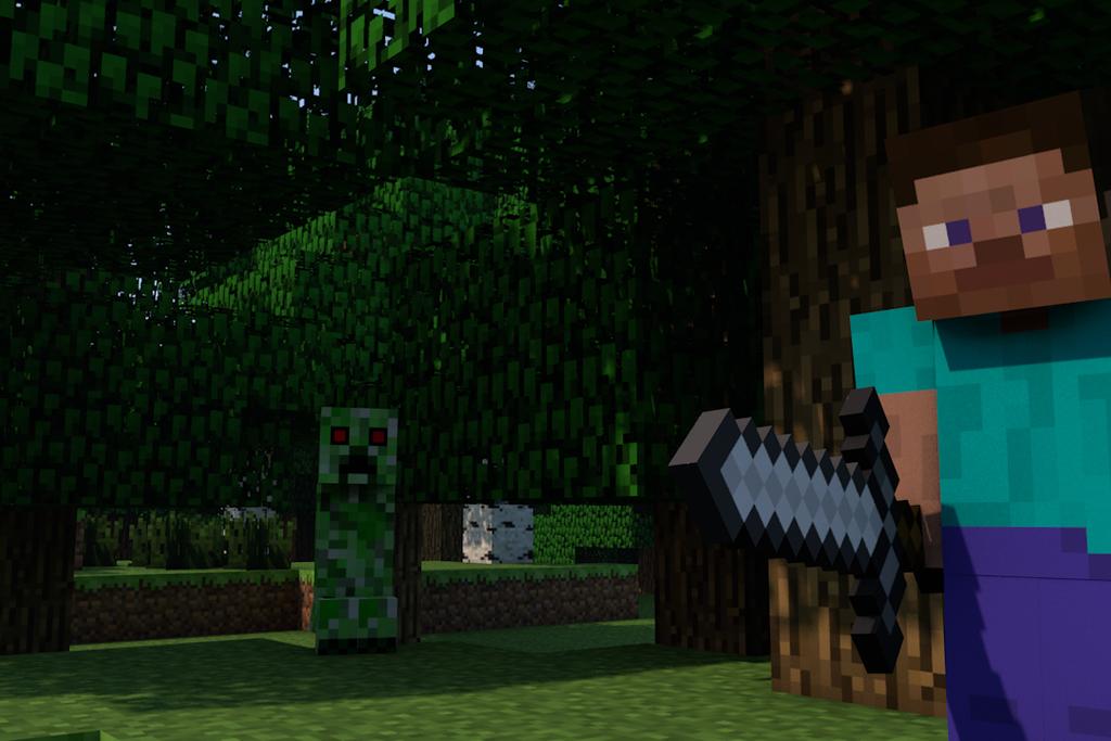 Steve calm and creeper surprise minecraft poster by - Minecraft creeper and steve ...