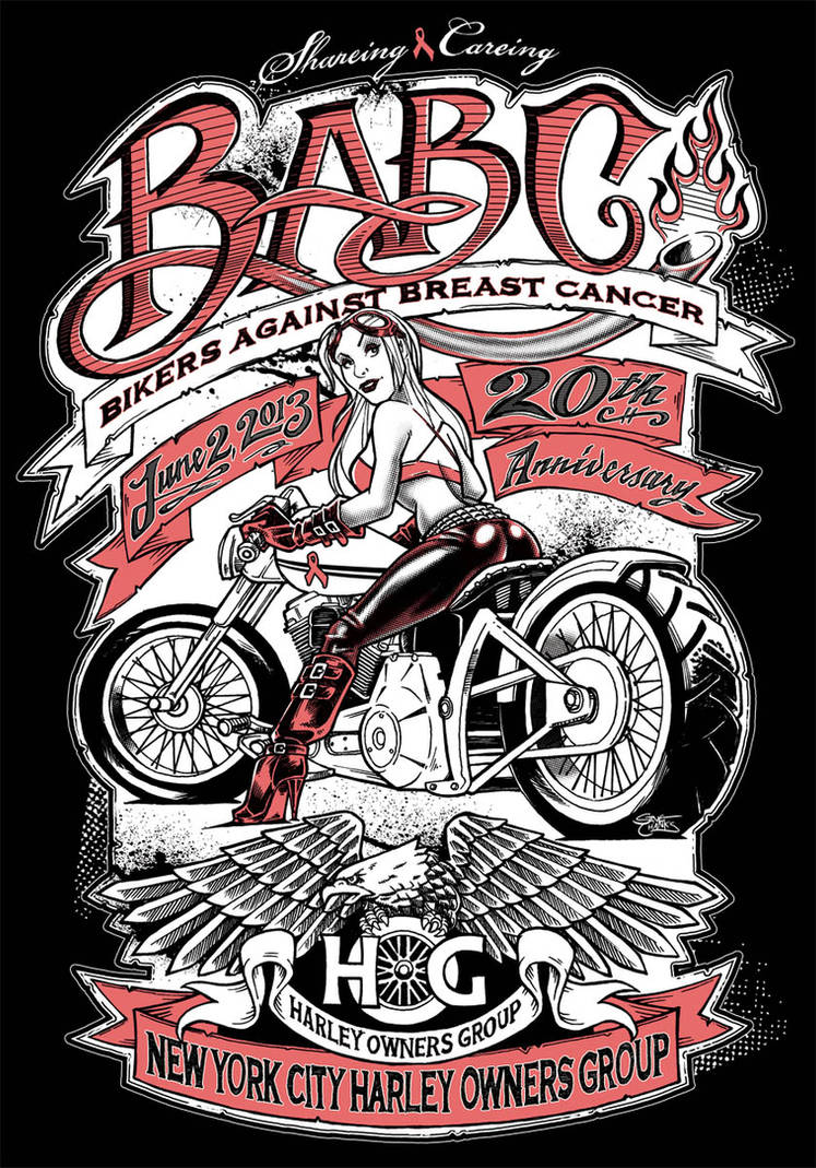 NYC Hogs Bikers Against Breast Cancer Art by SteveChanks