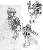 Battlesuit sketches by ARMORMAN