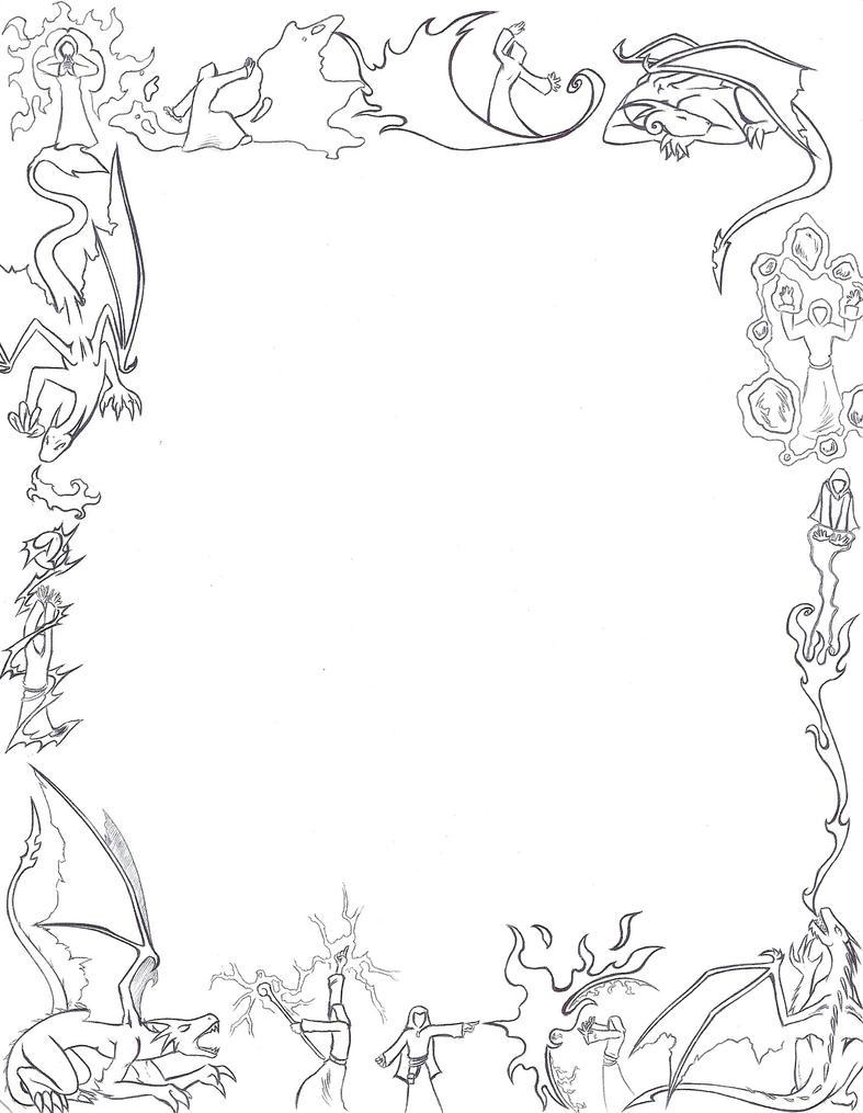 dragons and mages paper border by larutanrepus on deviantart. Black Bedroom Furniture Sets. Home Design Ideas