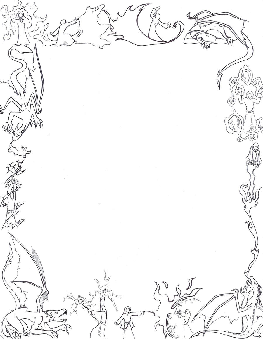 Dragons and Mages paper border by Larutanrepus