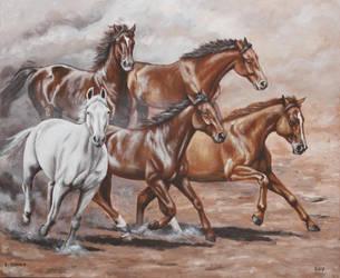 running horses by Artnes80