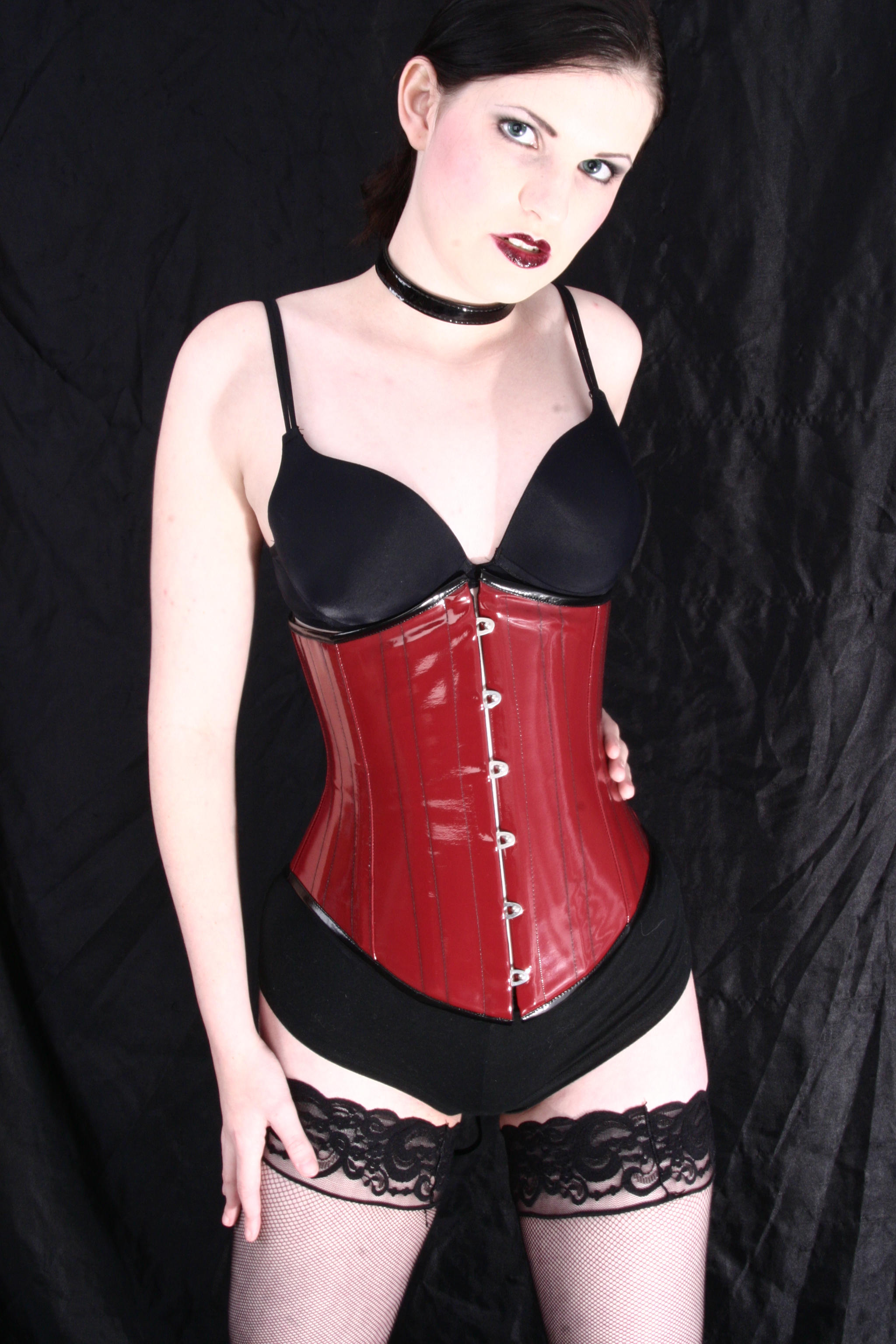 Girl in Red Corset Stock 1 by kristyvictoria