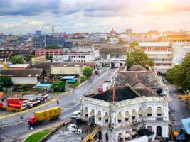 Port city stock image