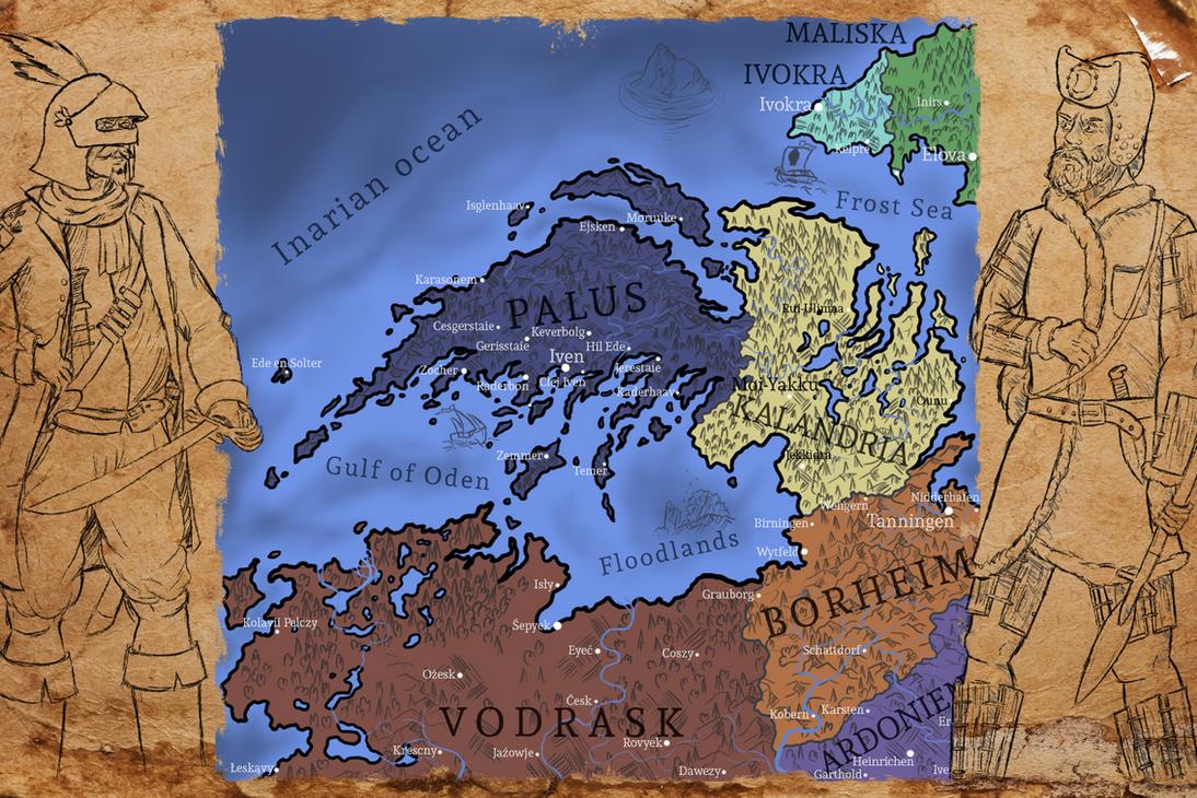 Stylized fantasy map by Jufington