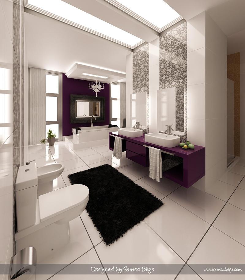 Purple-White Bathroom 1 by Semsa