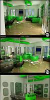 Green Kitchen N' Living Room by Semsa