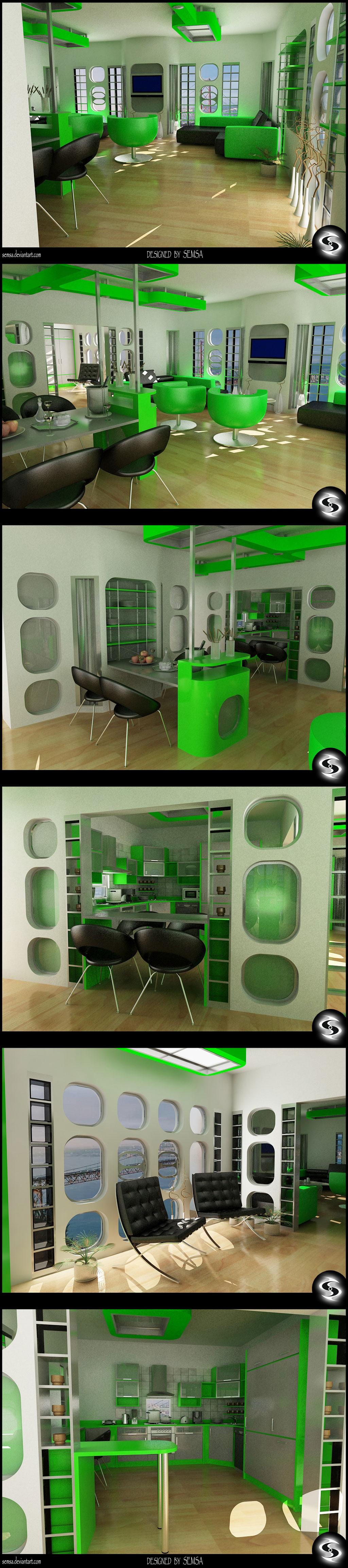 Green Kitchen N' Living Room