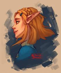 Princess Zelda [BotW Sequel] Head Shot by DeerCub